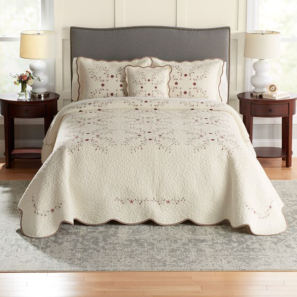 Croft Barrow Embroidered Bedspread, Bedspread Size For Queen Bed