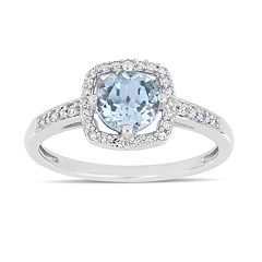 Stella Grace 10k White Gold 1/8 Carat T.W. Diamond Sky Blue Topaz Frame Ring