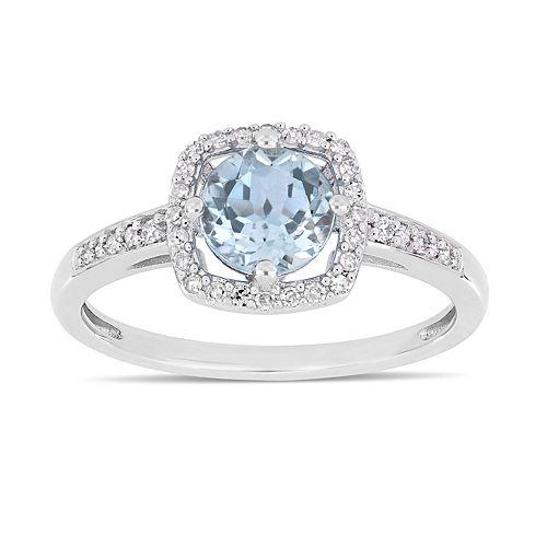 Stella Grace 10k White Gold 1/8 Carat T.W. Diamond Sky Blue Topaz Frame Ring