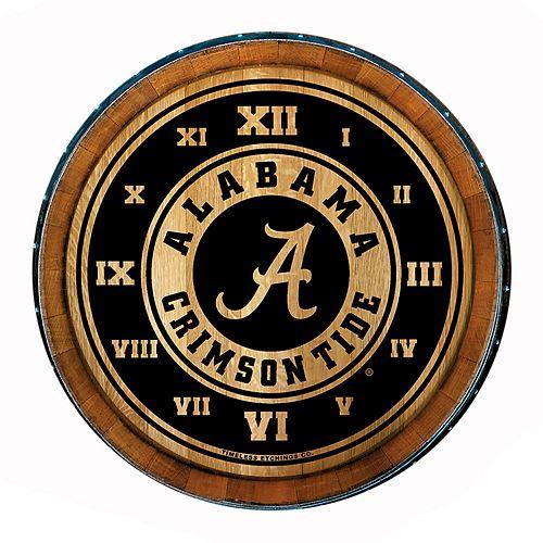 Alabama Crimson Wine Barrelhead Clock
