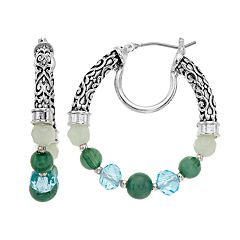 Napier Beaded Filigree Hoop Earrings
