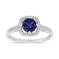 Stella Grace 10k White Gold 1/8 Carat T.W. Diamond Lab-Created Sapphire Frame Ring