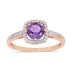 Stella Grace 10k Rose Gold 1/8 Carat T.W. Diamond Amethyst Frame Ring