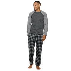 Men's Fruit of the Loom Signature Sweater Fleece Raglan Top & Plaid Lounge Pants Set