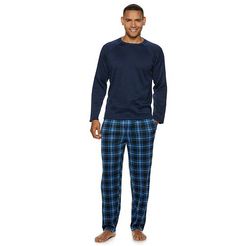 Men's Fruit of the Loom Signature Sweater Fleece Raglan Top & Plaid Lounge Pants Set