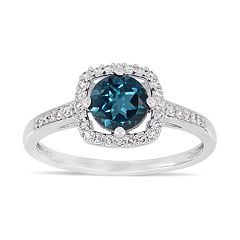 Stella Grace 10k White Gold 1/8 Carat T.W. Diamond London Blue Topaz Frame Ring