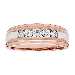 Men's 14k Rose Gold 1/4 Carat T.W. IGL Certified Diamond 5-Stone Ring