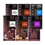 Godiva  Dark Chocolate   Large Bars 6-Piece Variety Pack