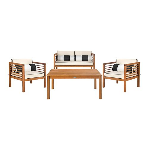 Cool Safavieh Alda Indoor Outdoor Loveseat Arm Chair Oblong Throw Pillow Coffee Table 8 Piece Set Evergreenethics Interior Chair Design Evergreenethicsorg