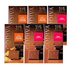 Godiva  Milk Chocolate   Large Bars 6-Piece Variety Pack