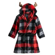 Toddler Boy Cuddl Duds Buffalo Check Moose Hooded Robe