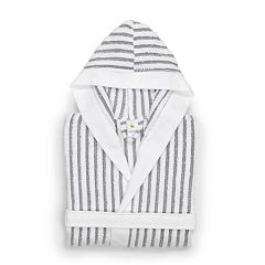 Linum Home Textiles Kid's Terry Stripe Hooded Bathrobe