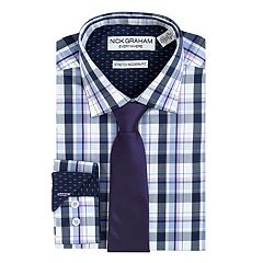 Men's Nick Graham Everywhere Modern-Fit Stretch Dress Shirt and Tie Boxed Set