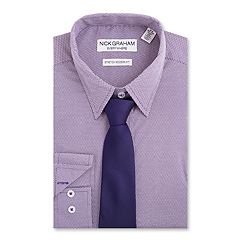 Men's Nick Graham Everywhere Modern-Fit Stretch Dress Shirt & Tie Set