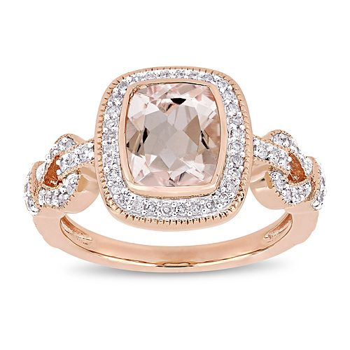 Stella Grace 10k Rose Gold 1/3 Carat T.W. Diamond Morganite Halo Ring