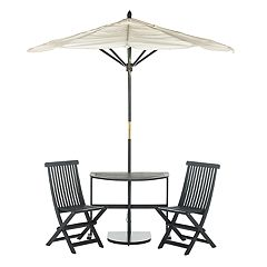 Safavieh Evert Half Patio Umbrella, Table & Chair 4-piece Set