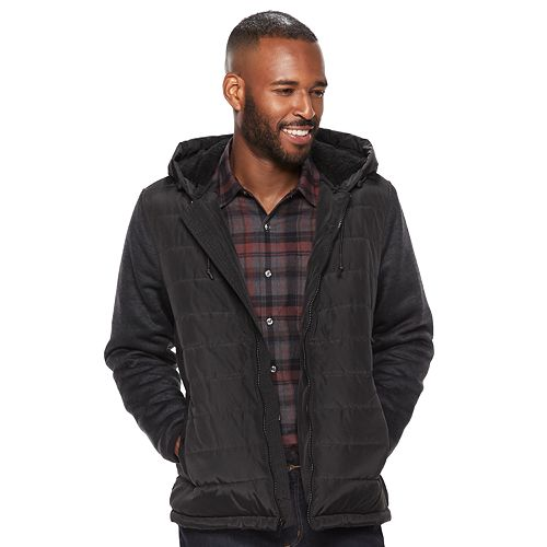 Men's Apt. 9® Quilted Hooded Sherpa-Lined Sweater Fleece Jacket