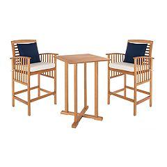 Safavieh Indoor / Outdoor Bar Height Table, Bar Stool & Throw Pillow 5-piece Set