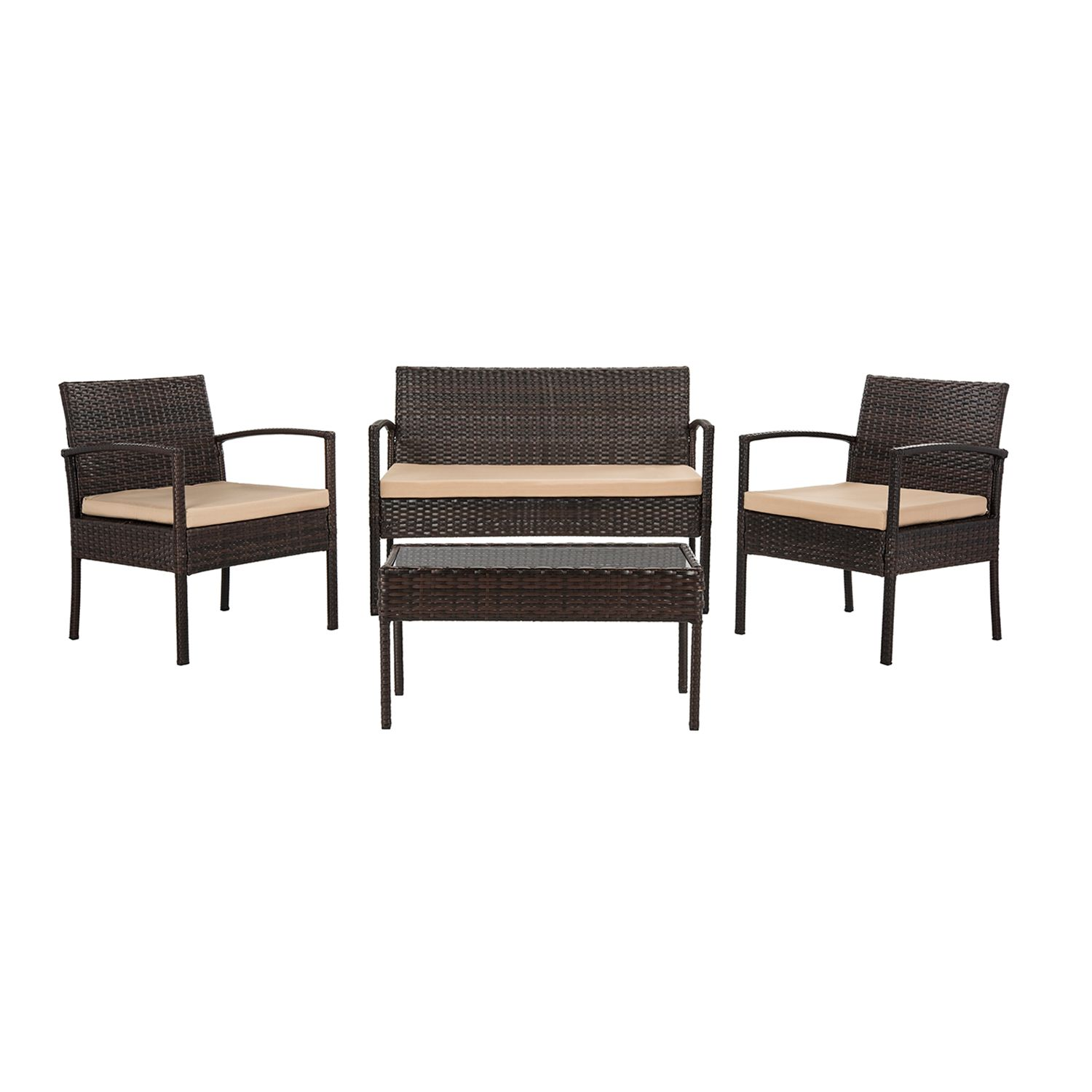 Beau Safavieh Mattia Indoor / Outdoor Loveseat, Chair U0026 Coffee Table 4 Piece Set