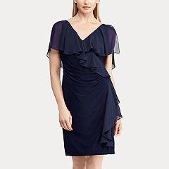 Women S Chaps Ruffle Overlay Sheath Dress