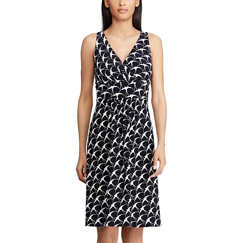 Women's Chaps Print Surplice  Fit & Flare Dress