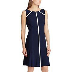 Women's Chaps Contrast Trim Fit & Flare Dress