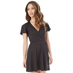 Juniors' IZ Byer Faux-Wrap Short Sleeve Dress