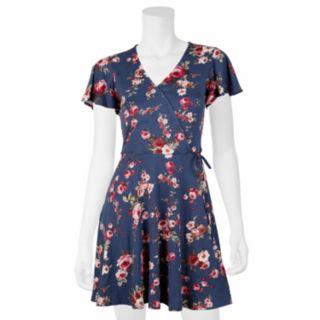 Juniors' IZ Byer Faux-Wrap Short Sleeve Dress