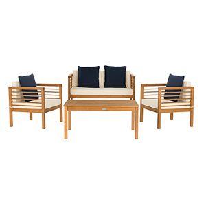 Safavieh Alda Indoor / Outdoor Loveseat, Arm Chair, Throw Pillow & Coffee Table 8-piece Set