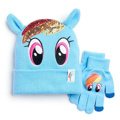 Girls 4-6x My Little Pony Rainbow Dash Sparkle Hat & Gloves Set
