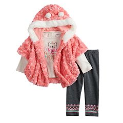 Baby Girl Little Lass Graphic Tee, Hooded Plush Vest & Fairisle Jeggings Set