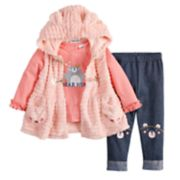Baby Girl Little Lass Faux-Fur Vest, Graphic Tee & Leggings Set