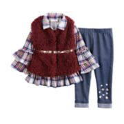 Baby Girl Little Lass Plaid Ruffle Henley, Faux-Fur Vest & Jeggings Set
