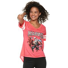 Marvel The Avengers Juniors' Group Shot Striped Tee