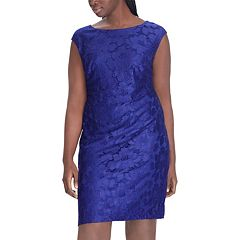 Plus Size Chaps Floral Lace Sheath Dress