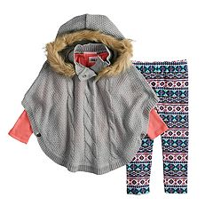 Baby Girl Little Lass Lurex Hooded Poncho, Solid Tee & Print Leggings Set