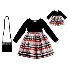 Girls 4-10 Dollie & Me Velvet Plaid Long-Sleeve Dress & Matching Doll Dress