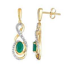 10k Gold Emerald & 1/5 Carat T.W. Diamond Drop Earrings