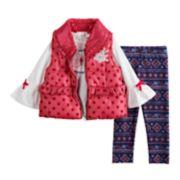 Baby Girl Little Lass Graphic Tee, Sequined Vest & Print Leggings Set