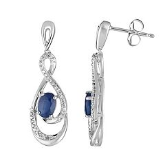 10k White Gold Sapphire & 1/5 Carat T.W. Diamond Drop Earrings