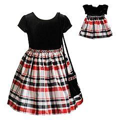 Girls 4-10 Dollie & Me Velvet Plaid Short-Sleeve Dress & Matching Doll Dress