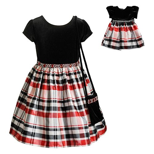 9b2bbee323 Girls 4-10 Dollie & Me Velvet Plaid Short-Sleeve Dress & Matching ...