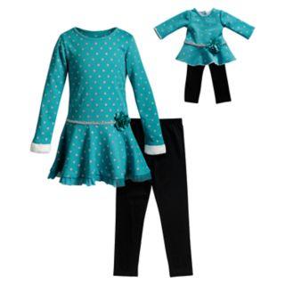 Girls 4-10 Dollie & Me Dot Dress, Leggings & Matching Doll Outfit Set