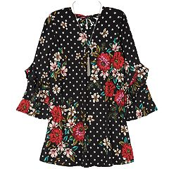 Girls 7-16 IZ Amy Byer Ruffled Long Sleeve Floral A-Line Dress with Necklace