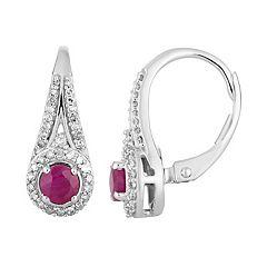 10k White Gold Ruby & 1/4 Carat T.W. Diamond Leverback Earrings