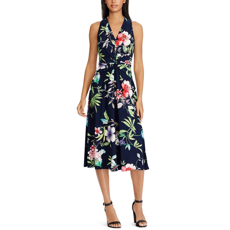 Exceptional Petite Chaps Floral Knot Front Halter Dress