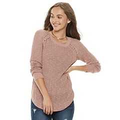 Juniors' Pink Republic Braided Raglan Sweater