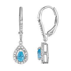 10k White Gold Swiss Blue Topaz & 1/5 Carat T.W. Diamond Teardrop  Earrings