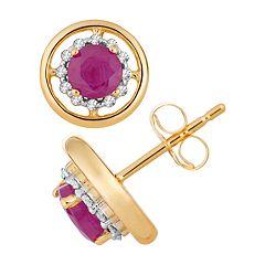 10k Gold Ruby & 1/8 Carat T.W. Diamond Stud Earrings