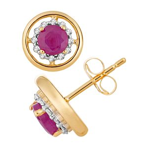 10k Gold Ruby & 1/8 Carat T.W. Diamond Stud Earrings